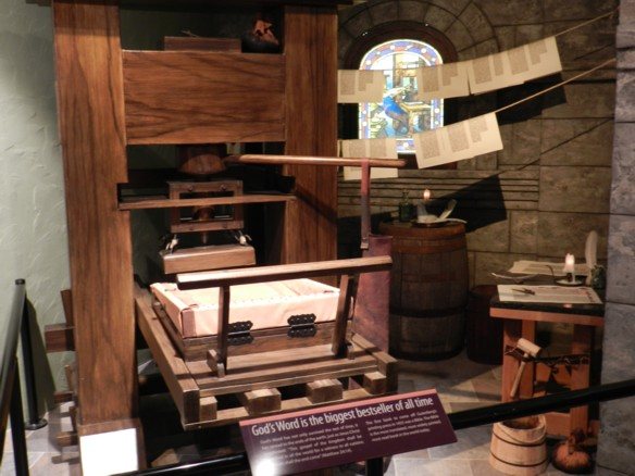 Replica of the Gutenberg printing press which allowed mass printing of the Bible, and helped make the Protestant reformation possible.